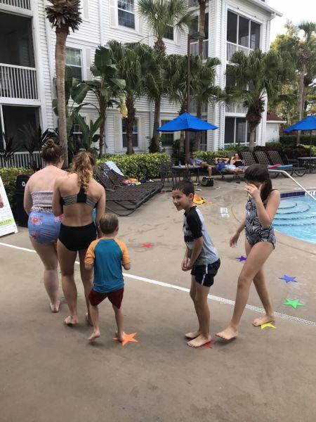 musical stars at pool